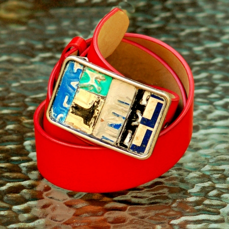 License plate metal mosaic belt buckle on red vegan belt