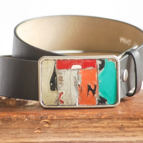 One of a kind handmade recyled license plate belt buckle