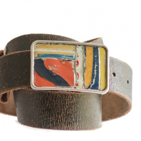 License Plate Mosaic Belt Buckle