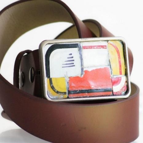 License Plate Belt Buckle Handmade Mosaic Vintage Recycled Metal