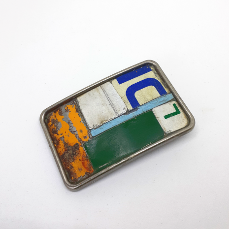 License plate metal mosaic belt buckles