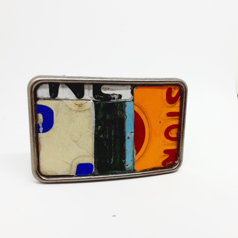 License plate metal mosaic belt buckle