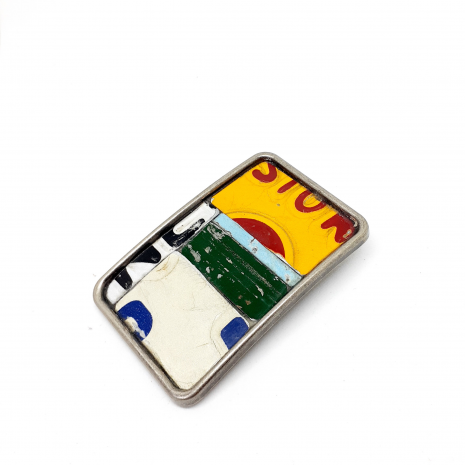 License plate metal mosaic belt buckle on model