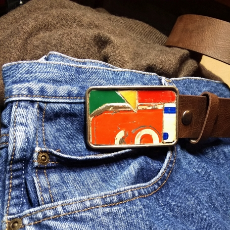 Vintage License Plate Metal Mosaic Belt Buckle