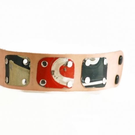Wide License Plate Cuff Buff Leather Adjustable