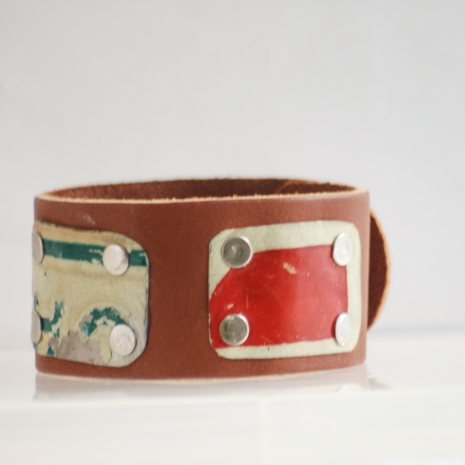 Recycled license plate leather cuff unisex
