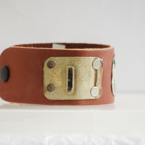 Reycled vintage license plate leather cuff