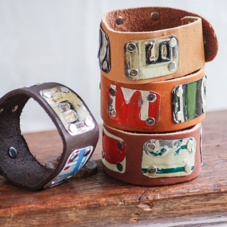 One of a Kind Leather and Vintage License Plate Cuffs