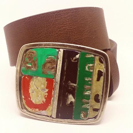 License plate metal mosaic belt buckle