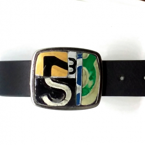 License plate metal mosaic belt buckle on black vegan belt