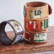 Leather and License Plate cuffs