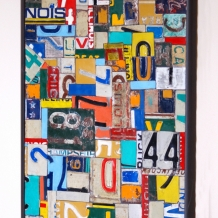 Wall Piece - license plate metal mosaic